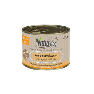 Naturdog Premium Ave de Corral Con Huevo Junior 200 Grs