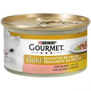 Gourmet Gold Bocaditos en Salsa Con Pollo y Salmon