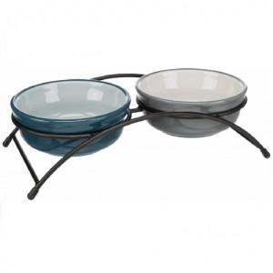 Set Comederos Eat on Feet Azul y Gris