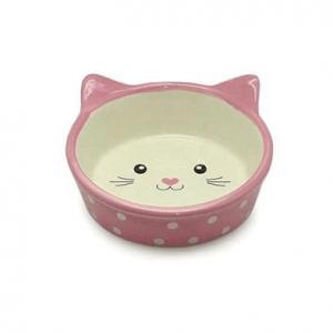 Comedero carita gato rosa