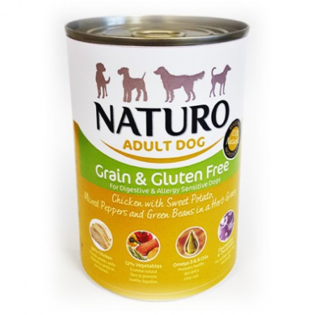 Lata Naturo Grain & Gluten Free Pollo y Vegetales 390 Grs