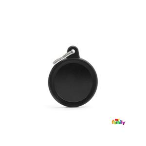 Placa redonda negra Hushtag
