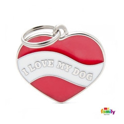 "PLACA CORAZÓN ""I LOVE MY DOG"""